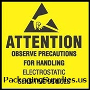 "Anti-Static Labels #DL9080 2 x 2 "" Attention Observe Precautions for Handling Label LABDL9080"