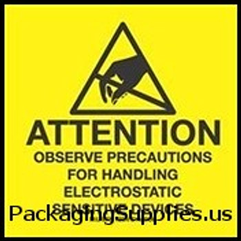 "Anti-Static Labels #DL9082 2 x 2 "" Attention Observe Precautions for Handling Label LABDL9082"