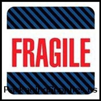"""Fragile Labels #DL1540 4 x 4"""" Fragile (Black Blue Stripes) Label LABDL1540"""