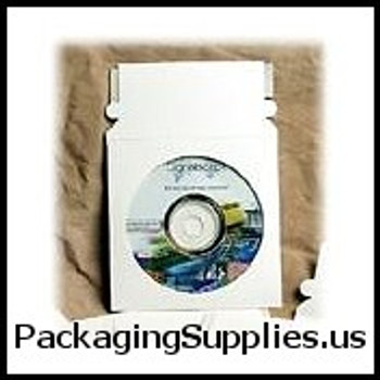 "Paperboard CD Mailers & Sleeves 5 x 5"" #CD2PS CD Mailer with Window White Self-Seal (500 Case) ENVRMCD2PS"