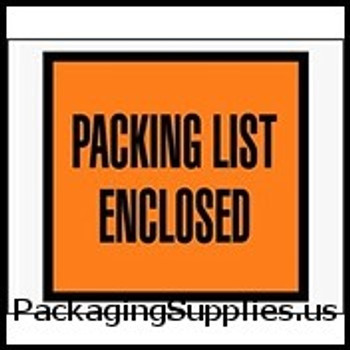 "Packing List Enclosed Envelopes 4 1 2 x 5 1 2"" Full Face Packing List Envelope (1000 Case) ENVPQ10"