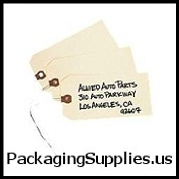 "10 Pt. Manila Shipping Tags - Pre-Wired 12"" x 26 Gauge Wire for Tags (1000 bundle) G2500"