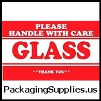 "Glass Liquid Labels #DL1279 2 x 3"" Please Handle with Care Glass Thank You Label LABDL1279"