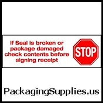"Pre-Printed Carton Sealing Tapes 2"" x 110 yds. 2.0 Mil Stop If Seal Is Broken Pre-Printed Carton Sealing Tape (36 Case) TCST902P01"