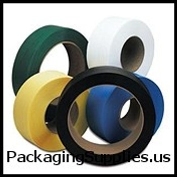 """8"""" x 8"""" Core Hand Grade Poly Strapping 1 2"""" x 7,200` 031 600# 8 x 8 #H1260EGB072C7 Black Hand Grade Poly Strapping SPSH260"""