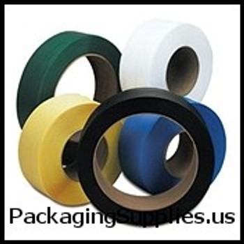 """16"""" x 6"""" Core Polyester Strapping 1 2"""" x 5,800` 025 775# 16 x 6 #M477-16B   P1225SMB058H3 Black Polyester Strapping SPS5225"""