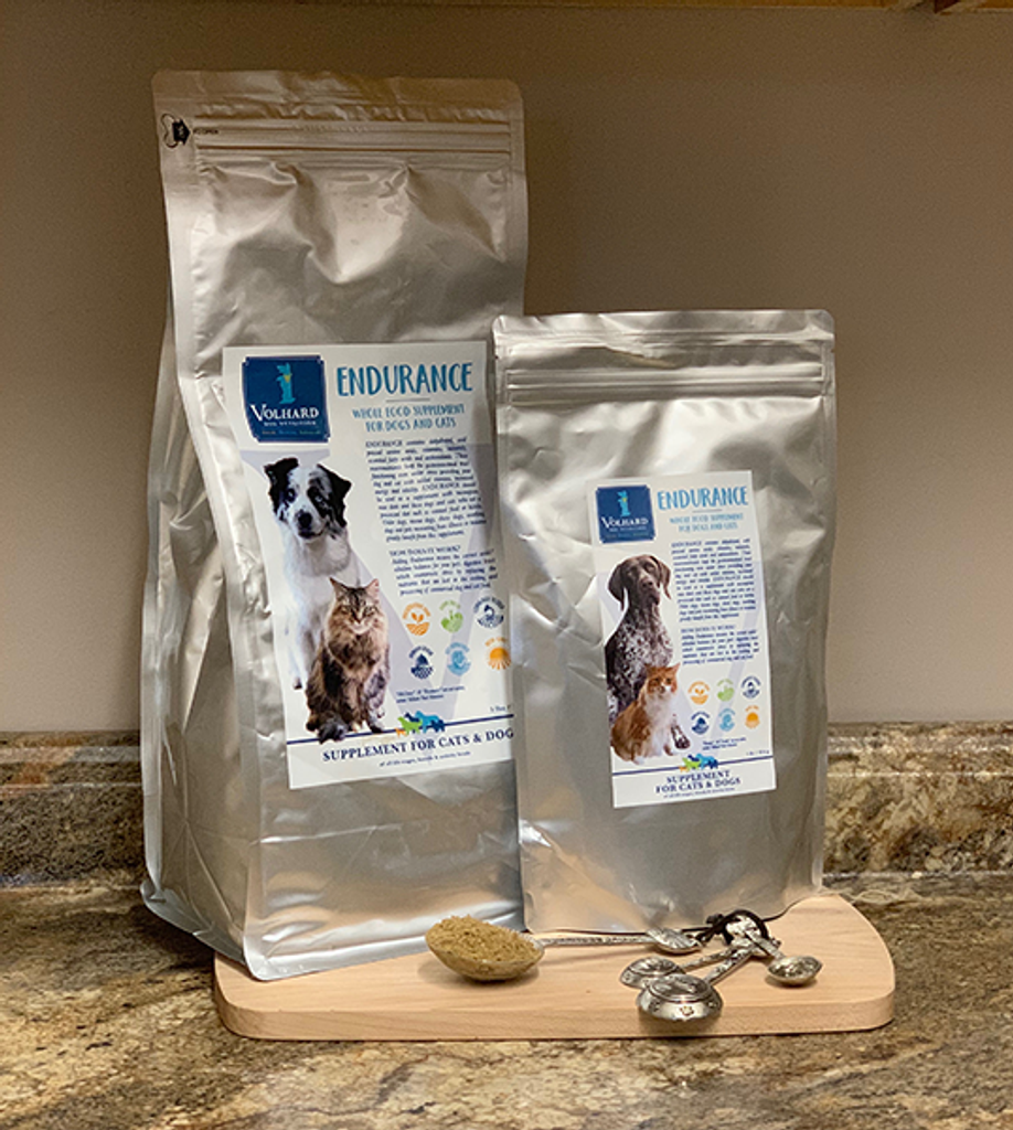 ENDURANCE is a unique supplement formulated for dogs and cats that are fed commercial kibble or canned food. Both can experience allergies, skin problems, constant shedding, bad breath, chronic ear discharges and digestive upsets.