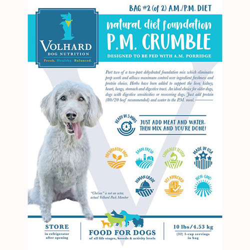 NDF PM Crumble (to which you add your dog's favorite meat and water) is fed in the evening.