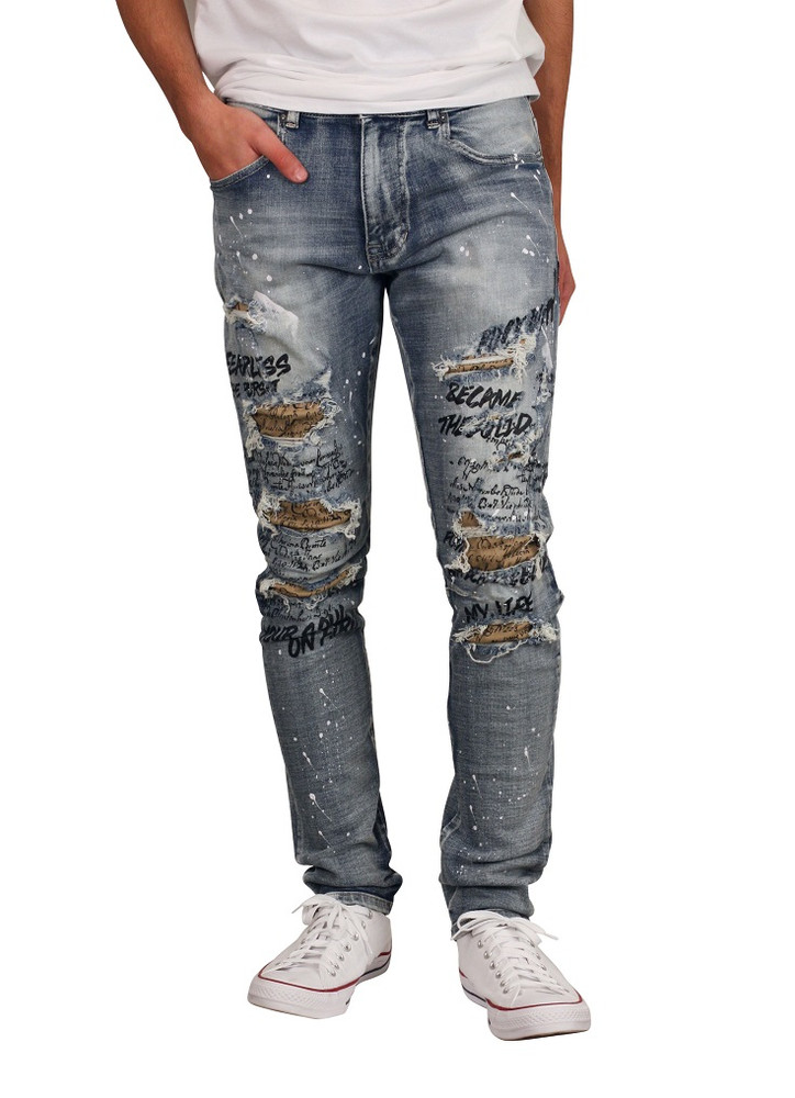 SMOKE RISE Doodle Print Jeans with Contrast Twill Backing