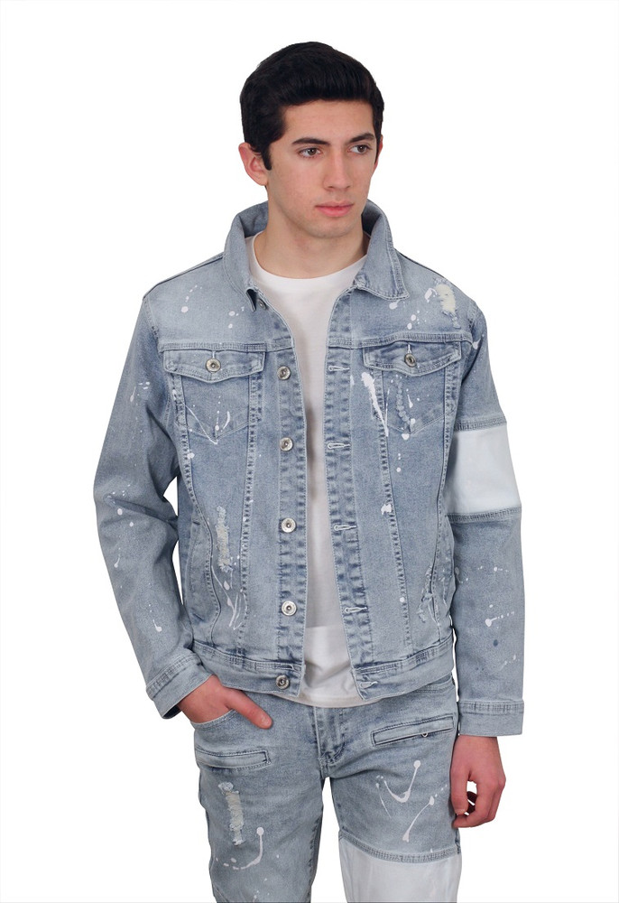 M. SOCIETY Rip and Tear Splatter Denim Jacket with Cut and Sew Panel