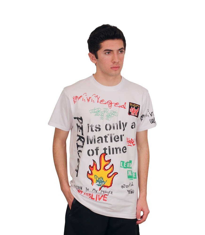 BLEECKER AND MERCER Technique Printed Graffiti Art Tee with Chenille Detail
