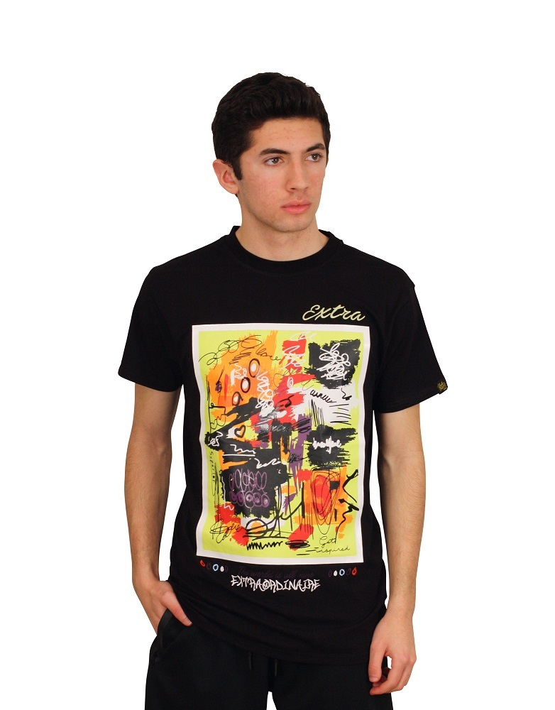 BLEECKER AND MERCER Graffiti Print Tee with Embroidery