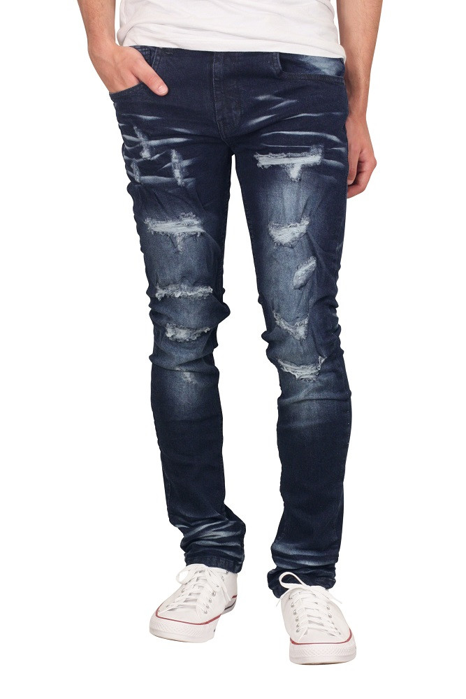 M. SOCIETY Skinny Fit Distressed Jeans