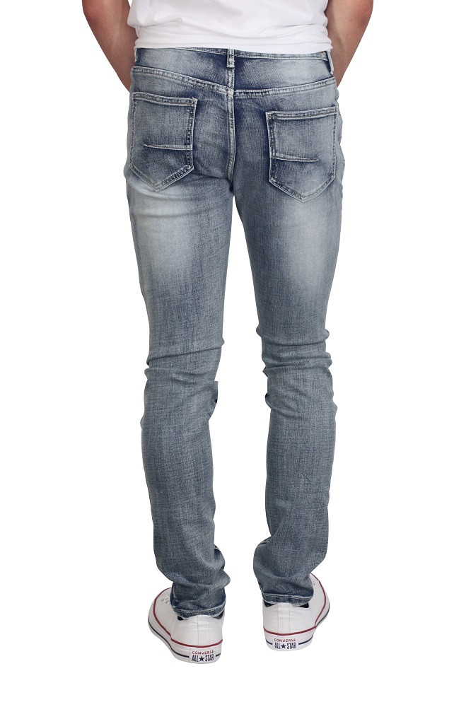 M. SOCIETY Skinny Fit Rip and Repair Sandblasted Jeans