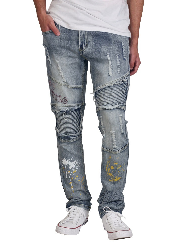 BLEECKER AND MERCER Slim Fit Printed Rip and Tear Moto Jeans