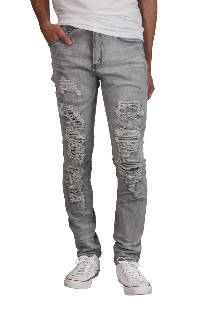 WAIMEA Skinny Fit Rip and Tear Jeans with Contrast Backing Grey Bleach