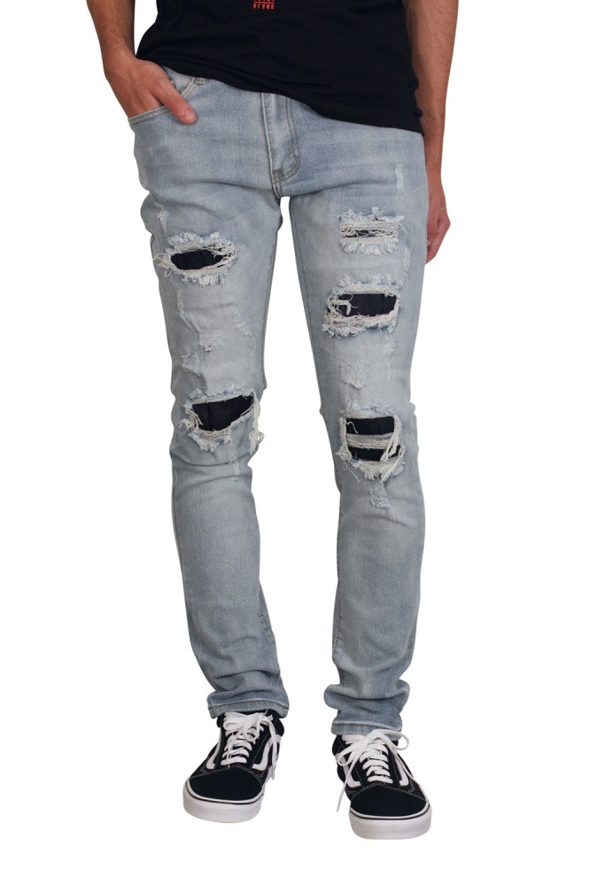 M. SOCIETY Skinny Fit Rip and Tear Jeans with Contrast Denim Backing