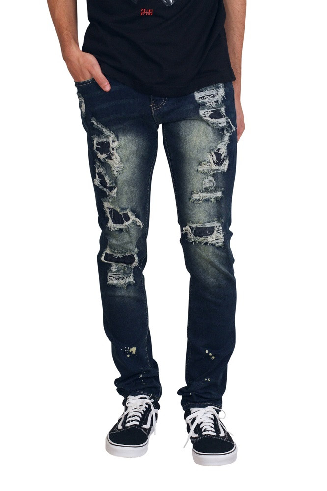 M. SOCIETY Skinny Fit Rip and Tear Jeans with Contrast Denim Backing and Splatter