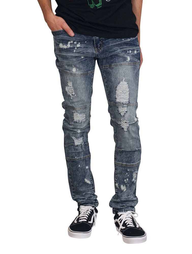 M. SOCIETY Skinny Fit Rip and Tear Jeans with Bleach Splatter
