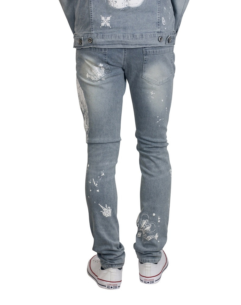 M. SOCIETY Skinny Fit Rip and Tear Jeans with Skull Print