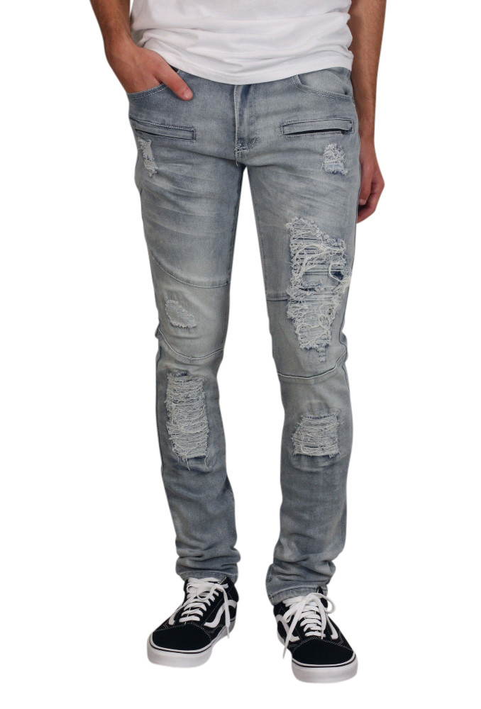 M. SOCIETY Skinny Fit Rip and Tear Jeans with Zipper Detail
