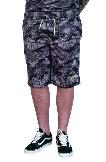M. SOCIETY Hawaiian Printed Poly Shorts Black