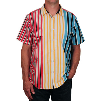 SWITCH Vertical Stripe Button Front Microfiber Shirt