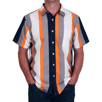 SWITCH Vertical Stripe Button Front Microfiber Shirt L