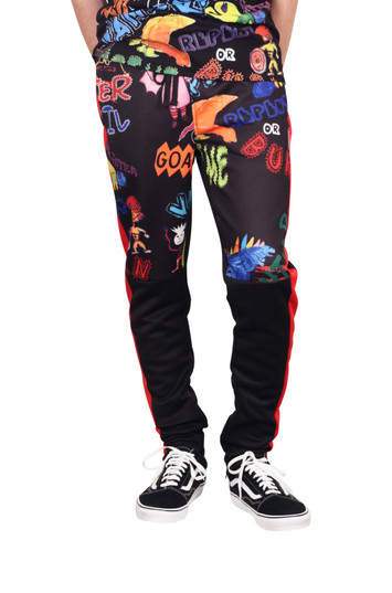 REBEL MINDS Collage Graphic Track Pants