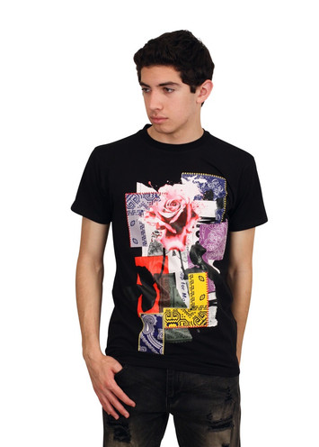 BLEECKER & MERCER Rose Flex Tee with Patchwork Design