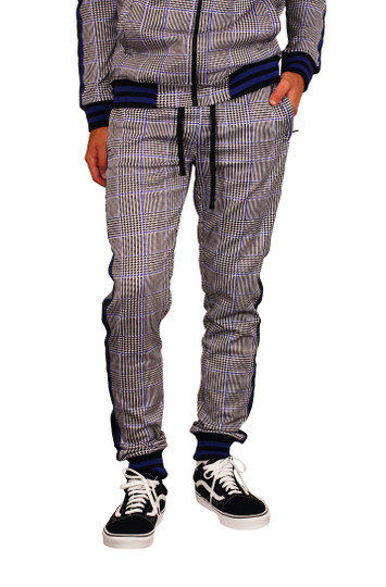 REBEL MINDS Houndstooth Check Track Pants