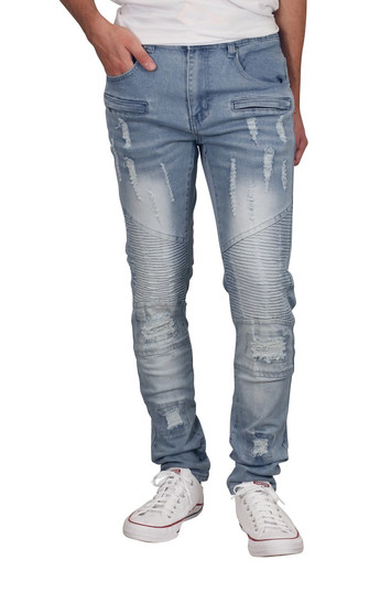 M. SOCIETY Skinny Fit Rip and Tear Moto Jeans