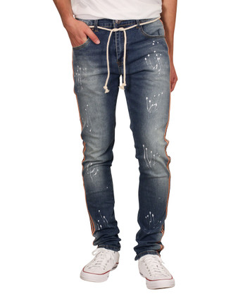 M. SOCIETY Skinny Fit Splatter Jeans with Side Taping and Drawstring