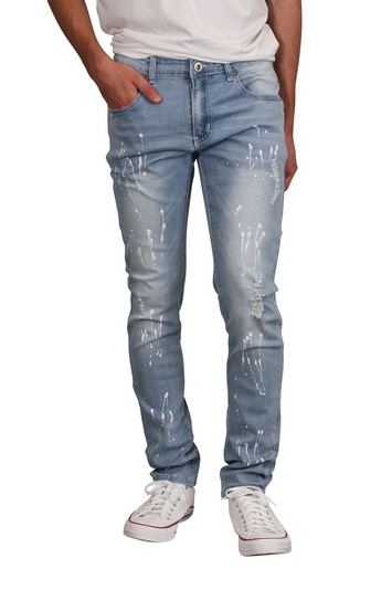 M. SOCIETY Skinny Fit Rip and Tear Splatter Jeans