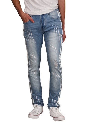 M. SOCIETY Skinny Fit Rip and Tear Splatter Jeans with Side Stripes
