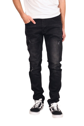 M. SOCIETY Skinny Fit Distressed Jeans with Slight Shredding