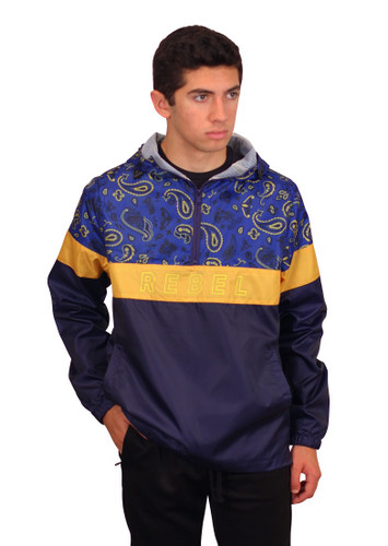REBEL MINDS Paisley Color Block Windbreaker