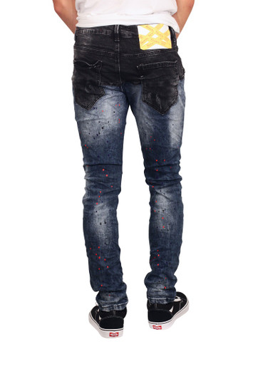 ROYAL SEVEN Skinny Fit 2-Tone Jeans with Splatter Design
