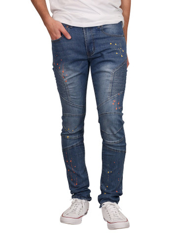 M. SOCIETY Skinny Fit Moto Jeans with Splatter