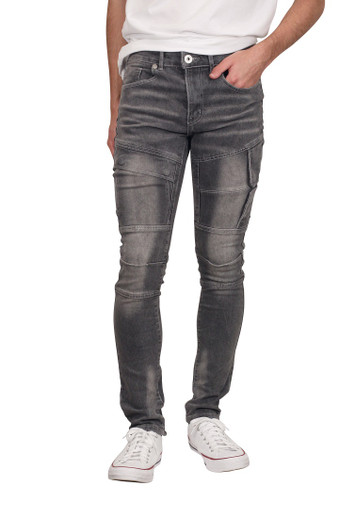 M. SOCIETY Skinny Fit Jeans with Side Flaps