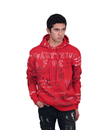 BLEECKER & MERCER Printed Graffiti Fleece Hoodie