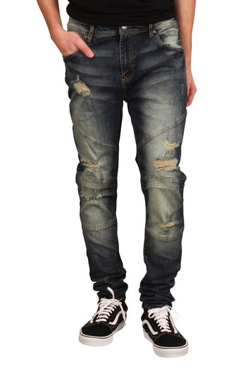 REBEL MINDS Skinny Fit Rip and Repair Jeans