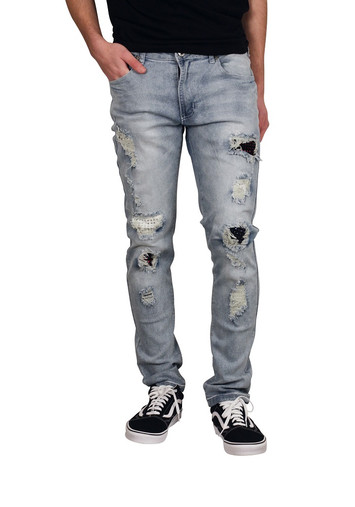M. SOCIETY Skinny Fit Jeans with Rhinestone Backing