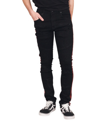 M. SOCIETY Skinny Fit Jeans with Rhinestone Side Taping