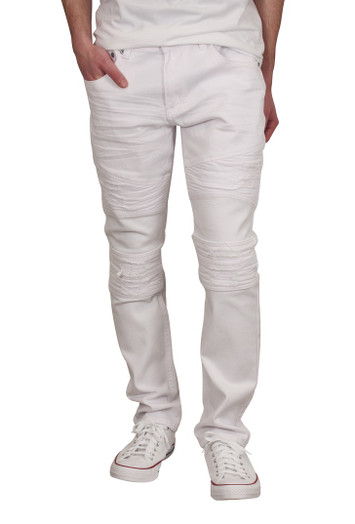 BLEECKER & MERCER Slim Fit Rip and Tear Moto Jeans