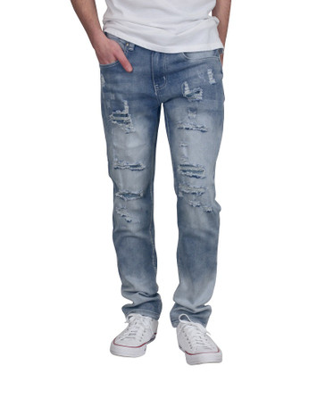 BLEECKER & MERCER Skinny Fit Rip and Repair Jeans