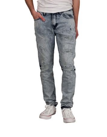 BLEECKER & MERCER Skinny Fit Rip and Tear Jeans