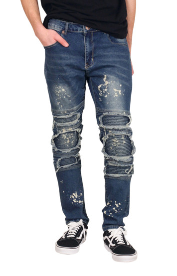 M. SOCIETY Skinny Fit Rip and Tear Moto Jeans with Splatter Design