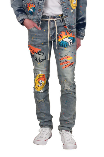 M. SOCIETY Fashion Printed Skinny Fit Biker Jeans