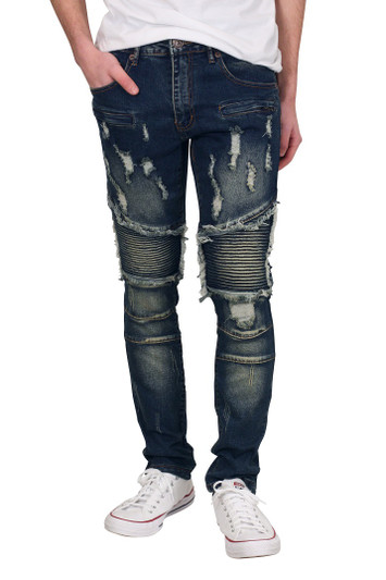 M. SOCIETY Rip and Tear Moto Jeans